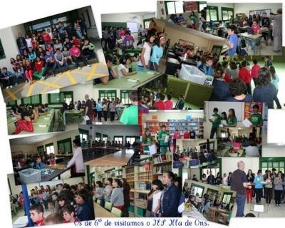 Imaxe da visita ao IES Illa de Ons polo alumnado de 6º